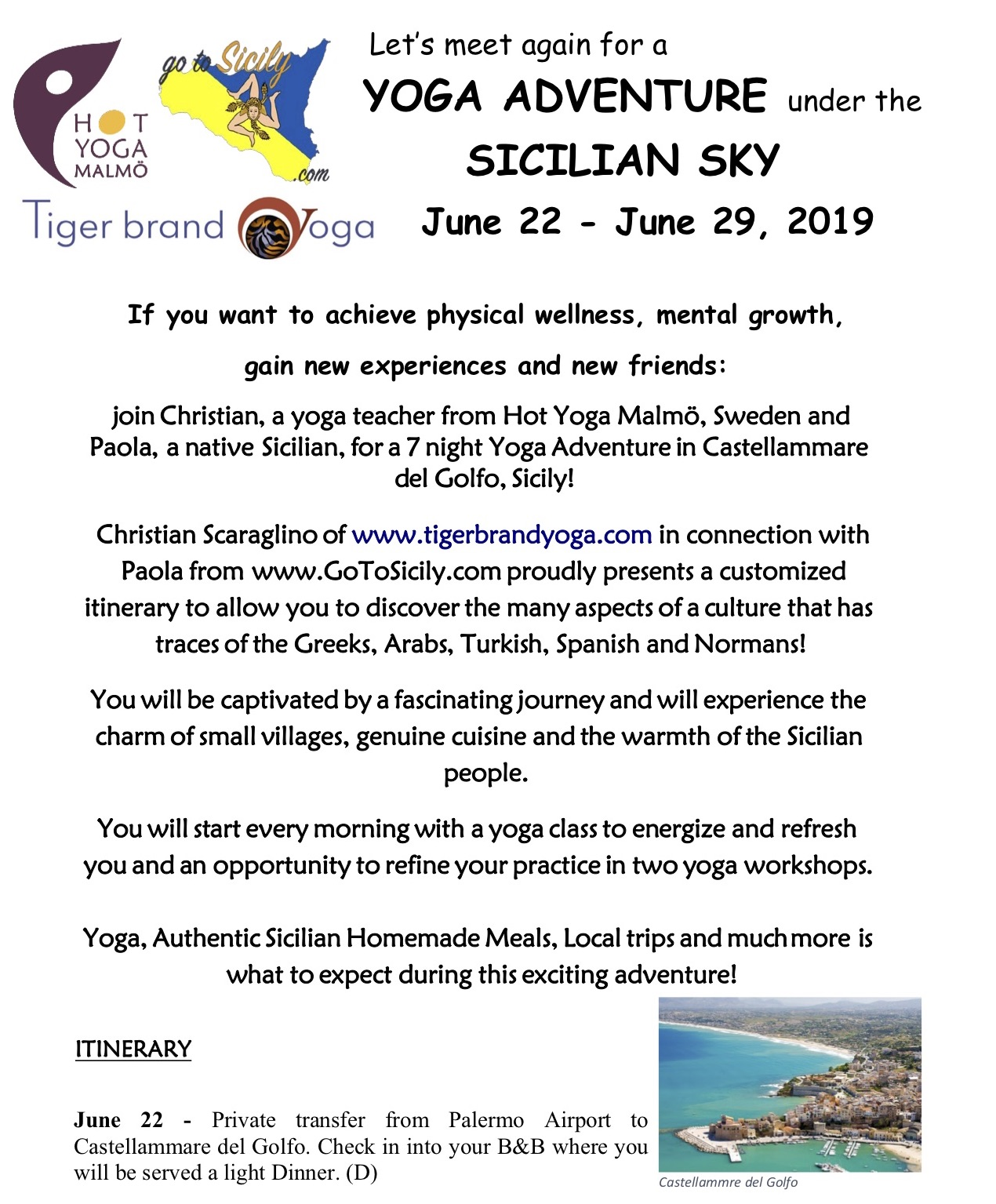 2nd Annual Yoga Adventure under the Sicilian Sky